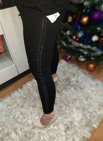 Nowe legginsy czarne z cyrkoniami