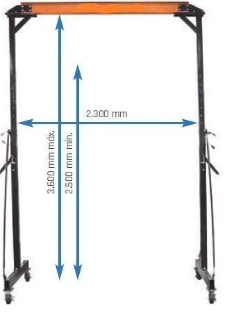 Pórtico móvel capacidade 1 ToN, elevação a 3,60 metros UNICRAFT