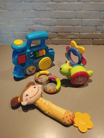 Zestaw zabawek niemowlęcych, grzechotka, piszczałka i inne