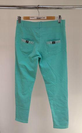 Miętowe elastyczne spodnie legginsy
