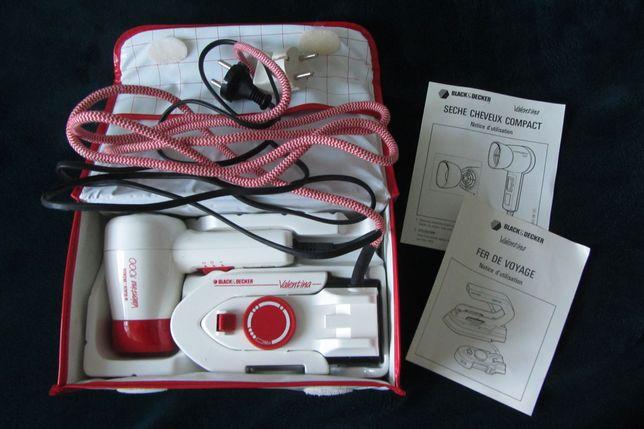 Kit viagem secador cabelo + ferro engomar (com bolsa de transporte)