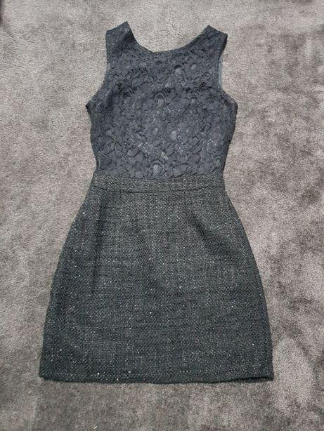 Sukienka czarna koronka cekiny Warehouse 36 s nowa