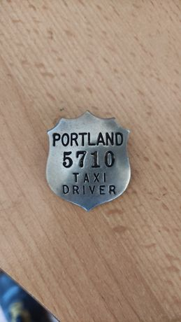 Orginalna stara odznaka Taxi Driver z Portland