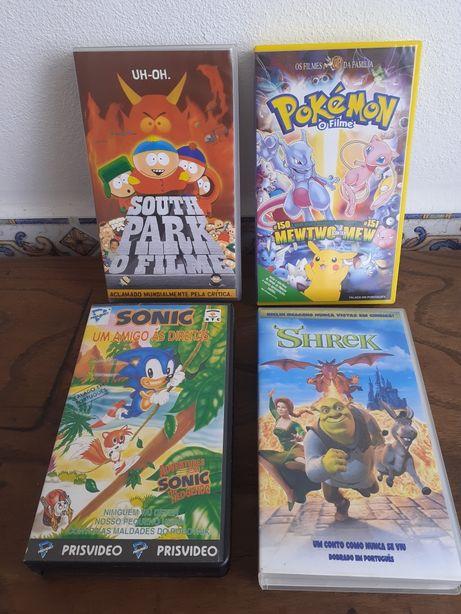 Filmes em VHS Pokémon, South Park, Sonic, Sherek