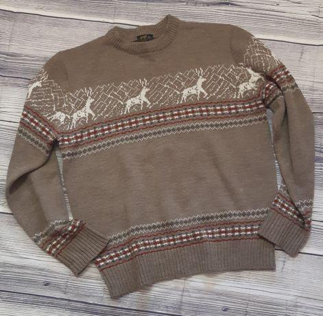 Мужской теплый свитер, XL, шерсть с акрилом, Англия