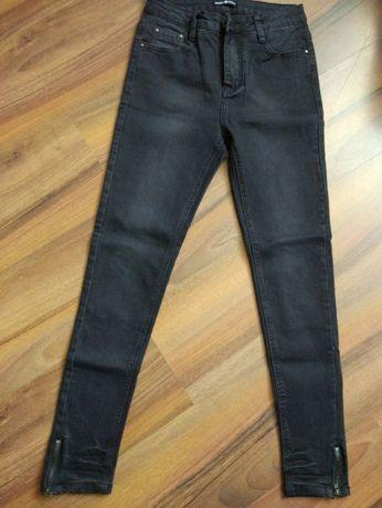 NOWE czarne jeansy rurki z suwakami po bokach rozm S /36 spodnie