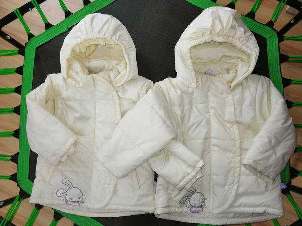 Dwie kurtki dla bliźniaczek 98