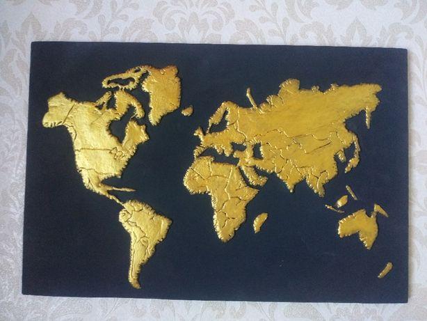 Продам картину-барельеф 3d карта мира(материк) loft