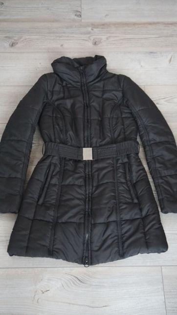 Kurtka płaszcz czarny z paskiem Flame/Takko rozmiar S wąski