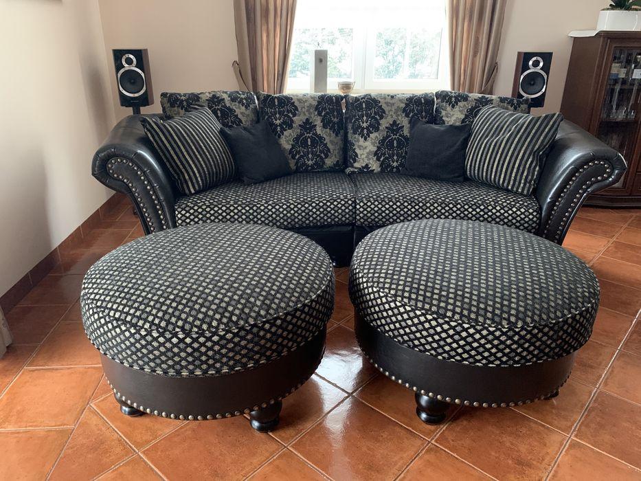 Kanapa sofa + 2 pufy Livingroom Jeżówka - image 1