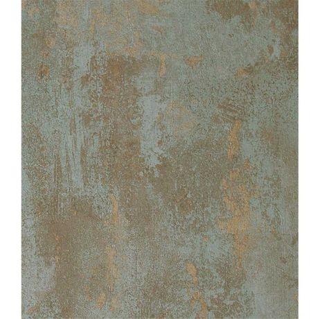 Papel de parede (2 Rolos) Verde/dourado com textura