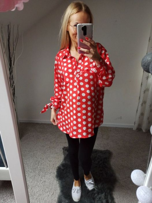 Nowa czerwona koszula w grochy XL ciąża Grodzisk Mazowiecki - image 1
