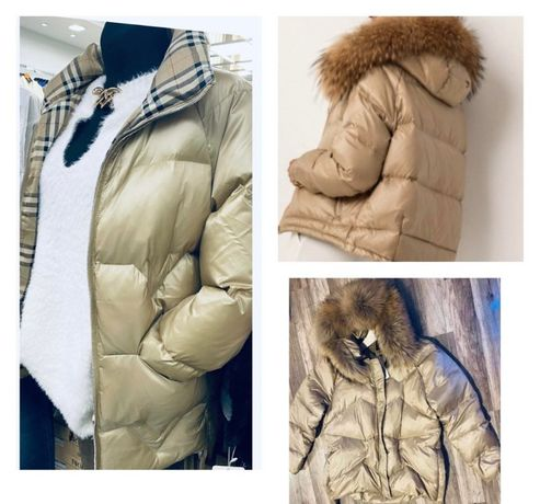 kurtka puchowa lis misfofo model jacket beige krata burberry