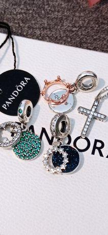 Pandora zawieszki charmsy koniczyna gwiazda Queen korona krzyż srebro