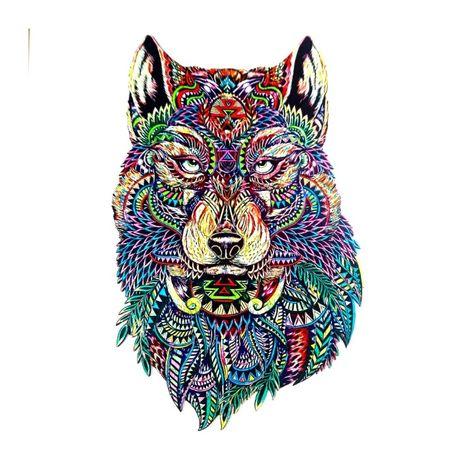 Пазлы деревянные необычной формы фигурные Волк Мозайка Головоломка