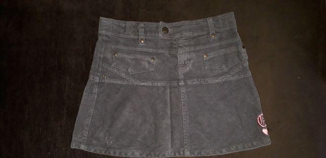 Spódniczka mini 9-10 lat 140 z haftem sztruksowa