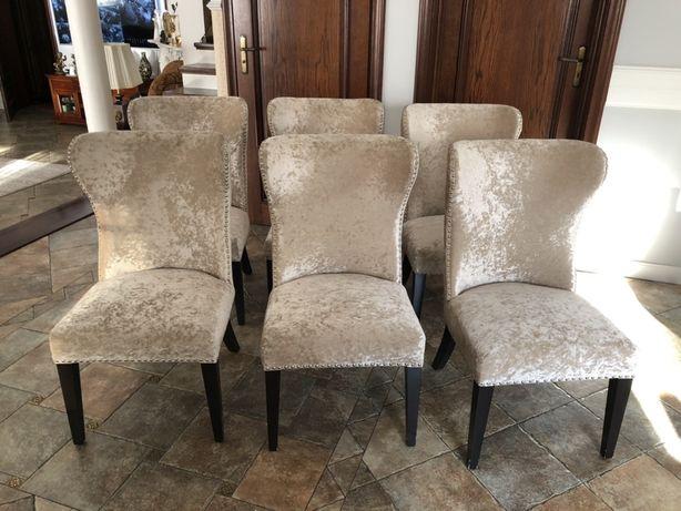 Krzesła uszaki z kołatką, beżowe