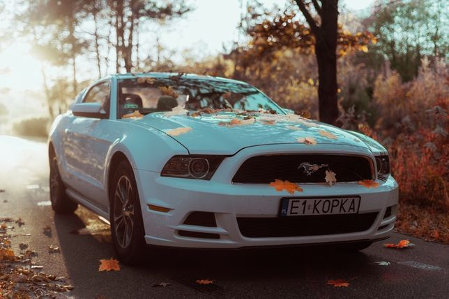 Perłowy Ford Mustang - wynajem auta do ślubu samochód na wesele