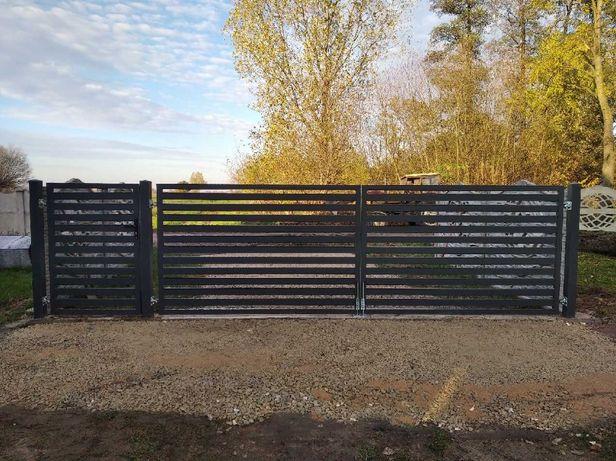 Dwuskrzydłowa wjazdowa brama palisadowa malowana proszkowo kompletna