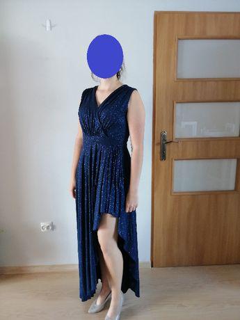 Długa asymetryczna granatowa suknia r. 42