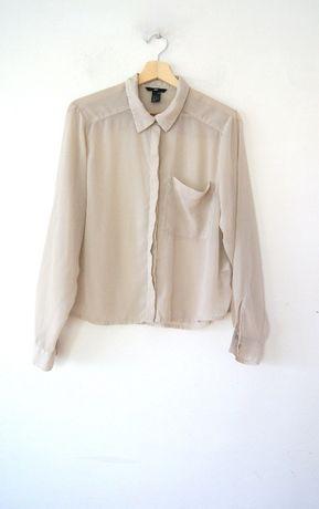 H&M bezowa kawowa koszula z dlugim rekawem mgielka ecru 38M40L bluzka