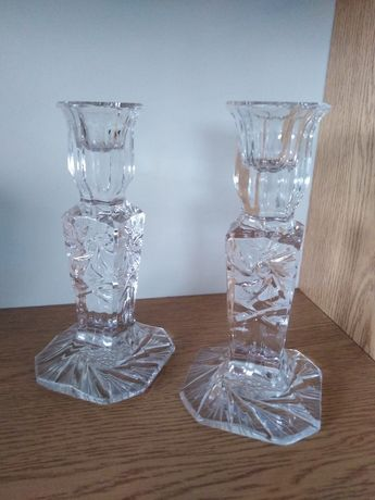 Piekne świeczniki kryształowe komplet