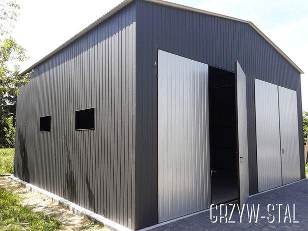 Garaż Blaszany 8x8, Wiata, Hala, Magazyn, Blaszak dwuspadowy w kolorze