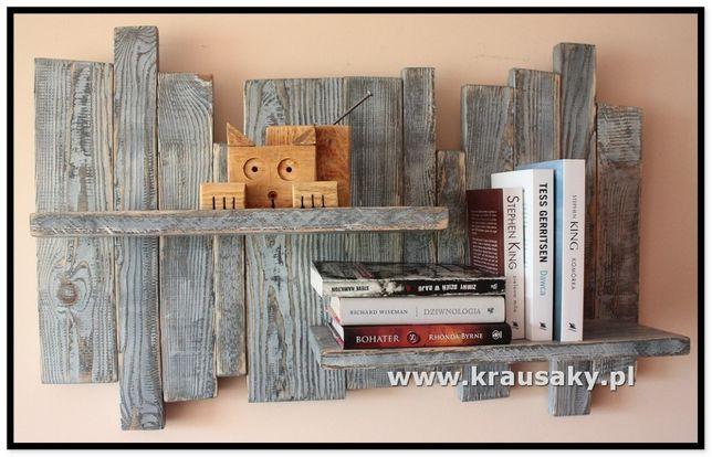 Półka dekoracyjna z drewna - rustykalna, vintage