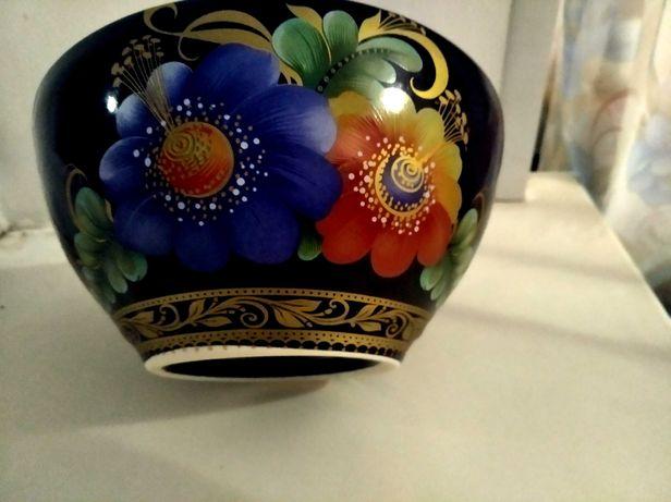 Винтажная ваза конфетница времен СССР с цветочной росписью