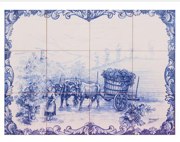 NOVO Painel de Azulejos Vindimas AZUL E BRANCO 60x45cm Carro Bois Uvas