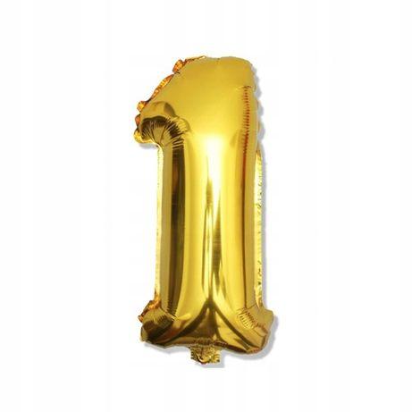 Balon 1 , rok, urodziny, roczek, złoty, duży, hel