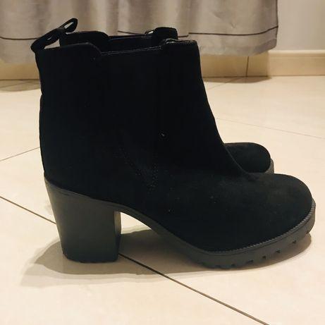 Zamszowe damskie botki 38 eleganckie buty jesień