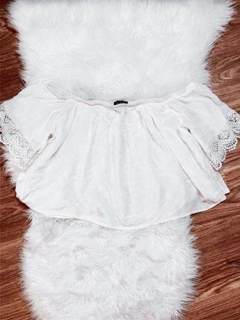 Biała bluzka crop top hiszpanka z odkrytymi ramionami szeroki rękaw L