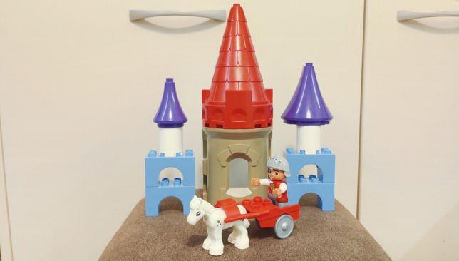 Lego Duplo klocki, rydwan z rycerzem i koniem, elementy zamku