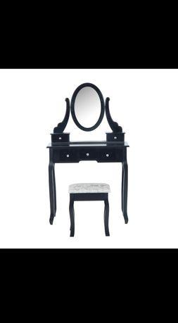 Toaletka z taboretem czarna