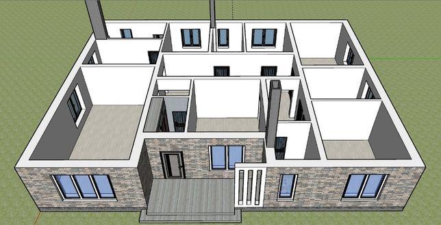 Проект дома. 3D визуализация в программе Sketchup