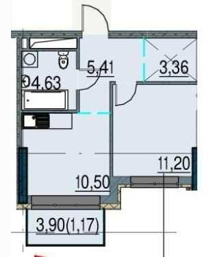 1-комнатная квартира по самой выгодной цене в Пространстве на Инглези