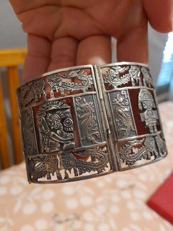 1 Pulseira de prata peruana legítima + 1 colar marfim (oferta)