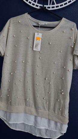 Włoska bluzka perełki L