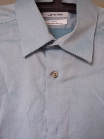 Niebieska koszula Calvin Klein, jak nowa, slim fit, r. 16 / 34-35
