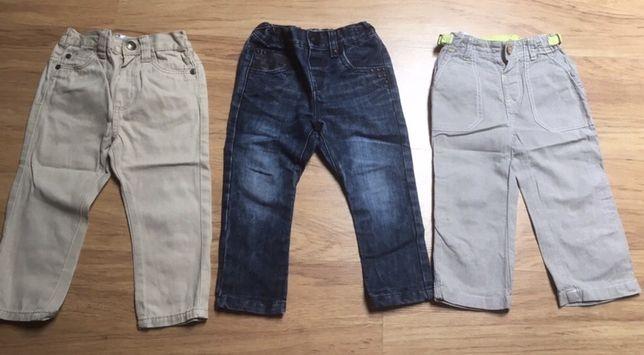 Spodnie chłopięce zestaw 3 pary jeansy i inne w rozm.86