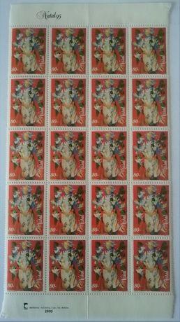 Selos RAROS de Natal 1995 sem Portugal impresso