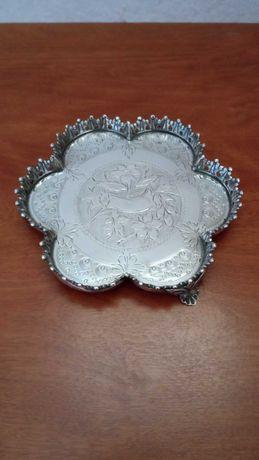 Bilheteira antiga de prata Javali punção extinta lindo relevo