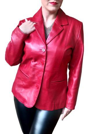 Czerwona marynarka żakiet kurtka skora naturalna r 40 L