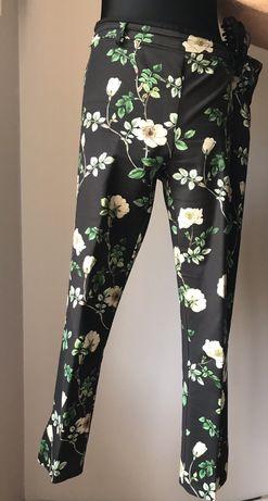 Spodnie h&m 44 ciemny granat w kwiaty na kantke