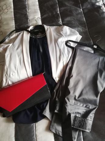 Koszula, spodnie, bolerko, torebka rozm. 38