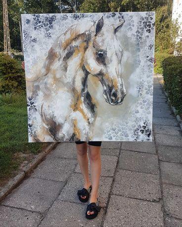 Promocja! Obraz olejny na płótnie 100x100cm koń portret sztuka