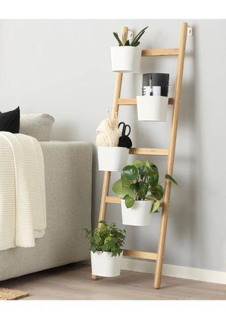 SATSUMAS stojak do roślin z 5 doniczkami, bambus/biały 125 cm