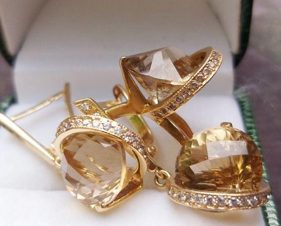 Набор Серьги и Кольцо золото 585пр с натуральным Топаз