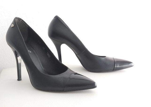 buty szpilki czarne skórzane Venezia rozm. 40
